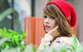 Asian, woolly hat, girl