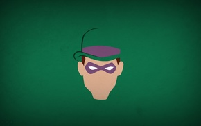 DC Comics, Blo0p, green background, heroes, The Riddler