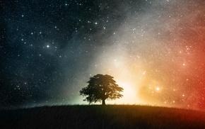 небо, звезды, красочно