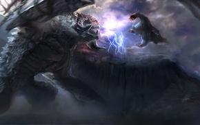 fighting, roshan, Ursa, creature, Dota 2