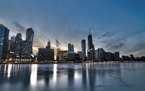 sea, USA, HDR, Chicago, reflection, cityscape