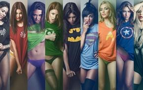 Captain America, Batman, Venom, Iron Man, girl, Hulk
