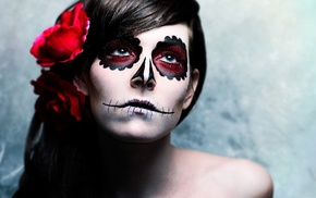 makeup, face, girl, Sugar Skull