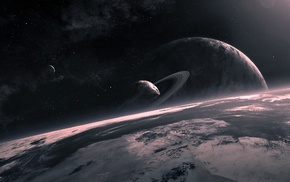 planet, space, space art, planetary rings, QAuZ