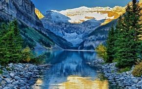 snow, stone, creek, forest, lake