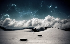 mountain, minimalism, clouds, snow, desert, landscape