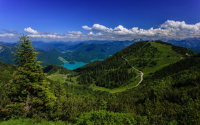 lake, road, Alps, clouds, mountain