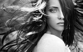 глаза, девушка, монохром, брюнетка, длинные волосы