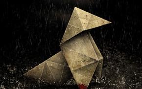 heavy rain, origami, rain