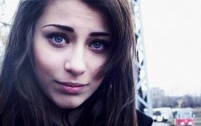 девушка, лицо, голубые глаза, девушки на открытом воздухе, брюнетка