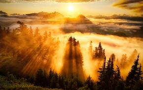 природа, закат, горы, рассвет, небо, туман