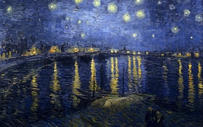 water, boat, classic art, reflection, stars, Vincent van Gogh