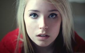 голубые глаза, лицо, девушка, смотрит в глаза, блондинка