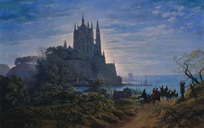 classic art, castle, painting, dirt road, coast, carriage