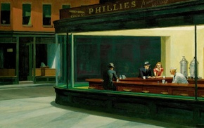 diner, Nighthawks, painting, Edward Hopper, classic art