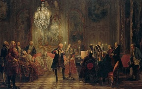 king, chandeliers, oil painting, Prussia, piano, classic art