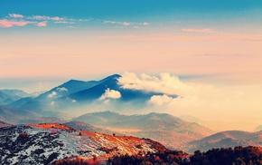 orange, mountain, blue, environment, clouds