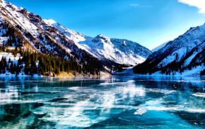 озеро, горы, снег, деревья, лед