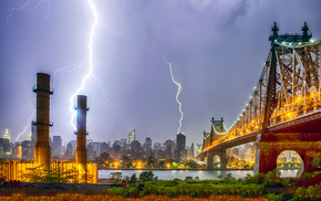 city, cities, lightning, skyscrapers, evening