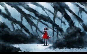 красное платье, девушка, дым, произведение искусства