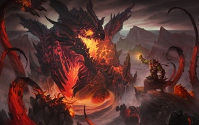 World of Warcraft Cataclysm, World of Warcraft, mountain, Thrall, orcs, dragon