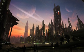 cityscape, city, matte paint, concept art, futuristic, digital art