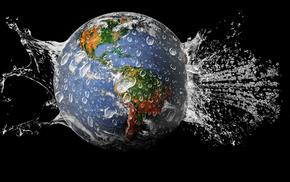 земля, 3d, вода