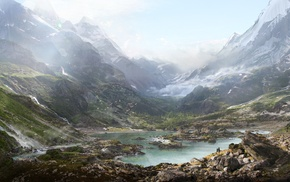 valley, nature, matte paint, landscape, mountain, Thomas Galad