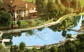 stunner, river, house, bridge, greenery