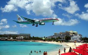 aircraft, ocean, people, airplane, clouds