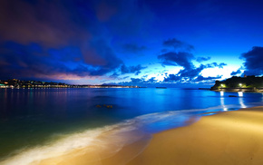красивые, небо, огни, побережье, пляж, закат