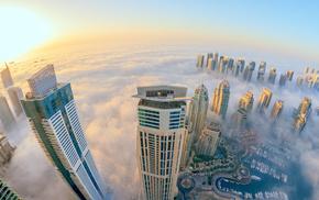 morning, city, mist, skyscraper, height