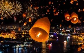 holiday, night, cities, lights, river