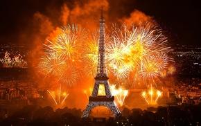 holiday, city, Paris, evening, Eiffel Tower
