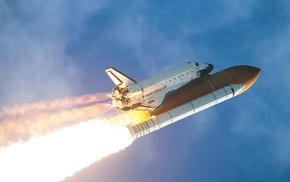 запуск, шаттл, НАСА, огонь, мощь, полет