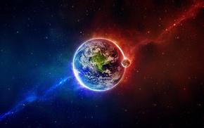 космический арт, Земля, планета, луна