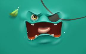 глаз, 3 Д, повязка, сердитый, язык, зубы