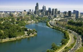 park, cities, sky, city, river