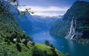 корабль, водопад, норвегия, горы, селение, лес