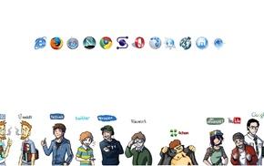 opera browser, MySpace, Wikipedia, Google, DeviantArt, Mozilla Firefox