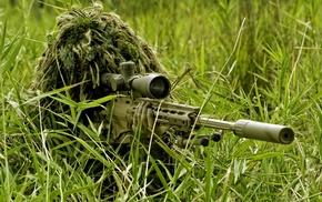 sniper rifle, ghillie suit, men