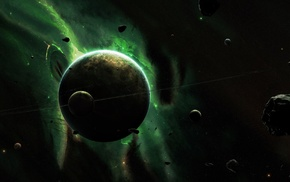space, nebula, space art, green, planet