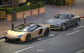road, Lamborghini, auto, parking, sportcar