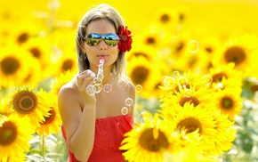 blonde, summer, bubbles, glasses, girl