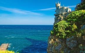 деревья, Ласточкино гнездо, красота, скалы, замок, море