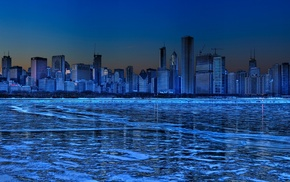 blue, cityscape, Chicago