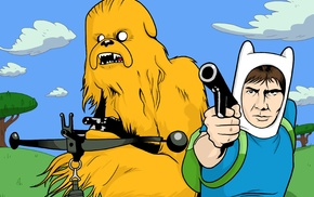 crossover, Adventure Time, Star Wars, Han Solo, Chewbacca, Jake the Dog