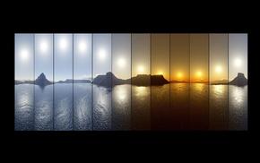 море, закат, восход, отражение