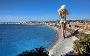 пляж, горы, город, блондинка, пальмы, небо