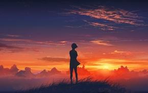 аниме, закат, девушки из аниме, облака, небо
